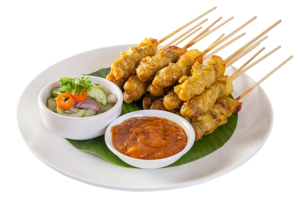 Pork satay,grilled pork served with peanut sauce or sweet and sour sauce, thai food