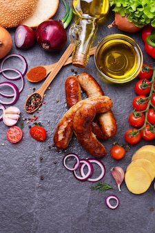 Pork sausages with spices and vegetables