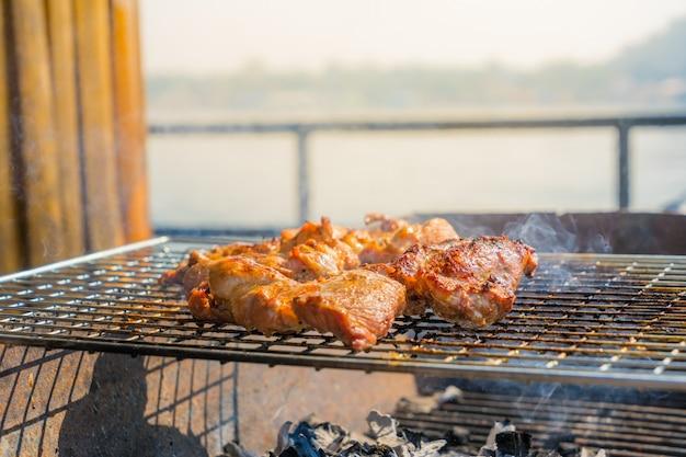 Pork steak roasted on the stove
