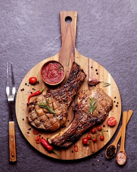 Pork steak with  sauce and spices