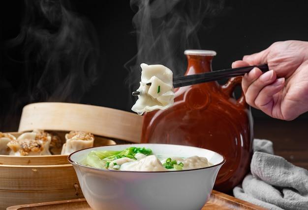 Pork wonton in a bowl