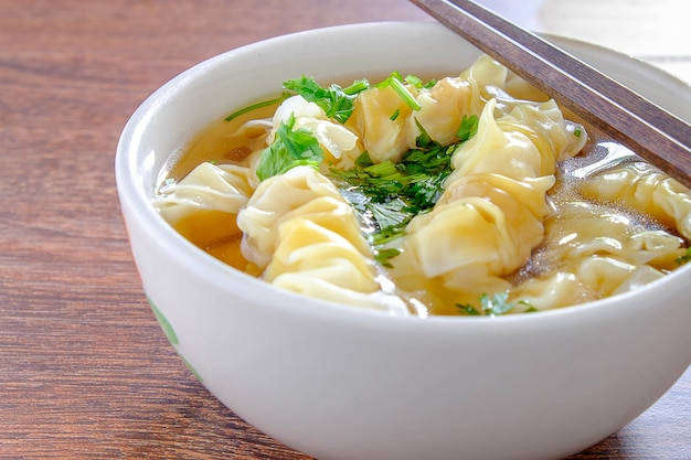 Porkwonton and dumpling in clear soup
