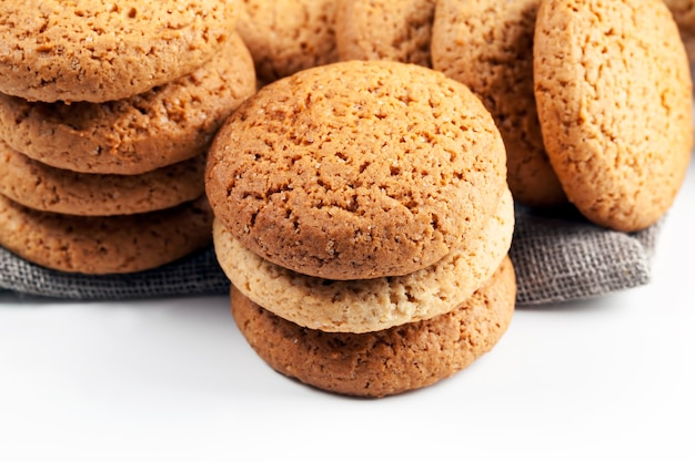 The porous structure of real round cookies, round cookies made from wheat and oat flour, the porous structure of real round cookies, not sweet dry and crunchy cookies, closeup