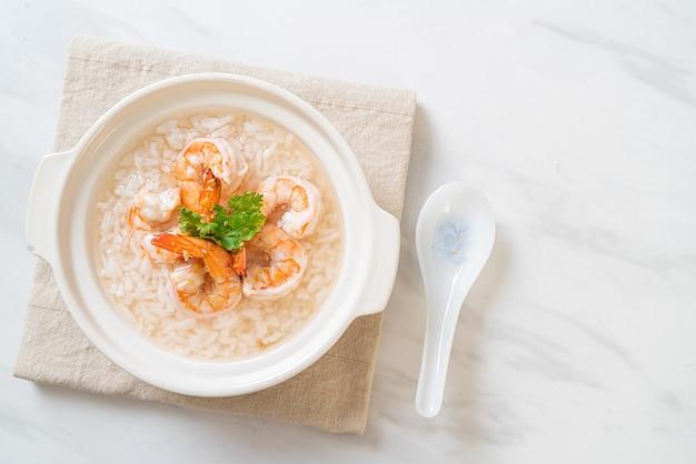 お粥または海老丼のご飯スープ