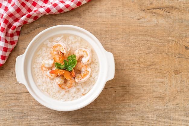 エビ丼のお粥またはご飯スープ