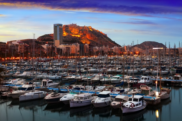 Port of alicante in dawn.  spain