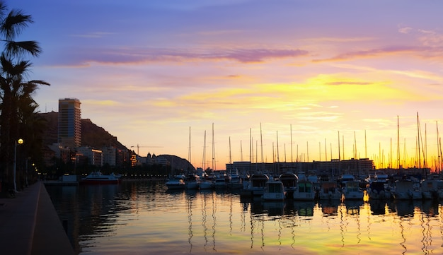 Port   and embankment in dawn. alicante