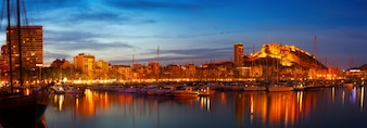 Port in night. Alicante, Spain