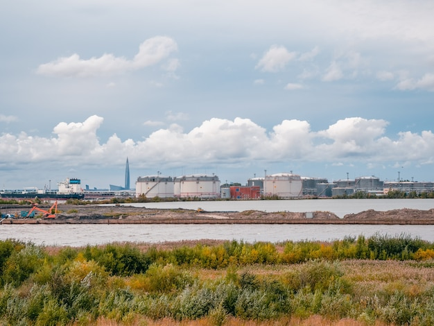 Port, an industrial district in the south-west of saint petersburg. tank farm oil and gas terminal.