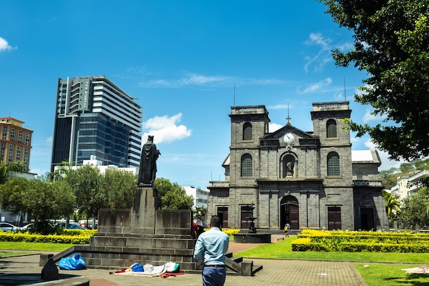Port louis, mauritius-december 3, 2019: exterior view of the immaculate conception church in port louis, mauritius