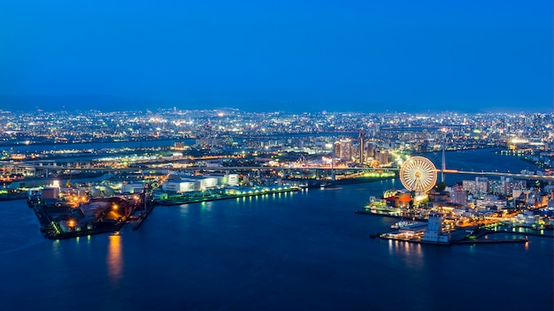 Port of osaka,night view of osaka bay in twilight ,travel destination and famous place in kansai area ,japan