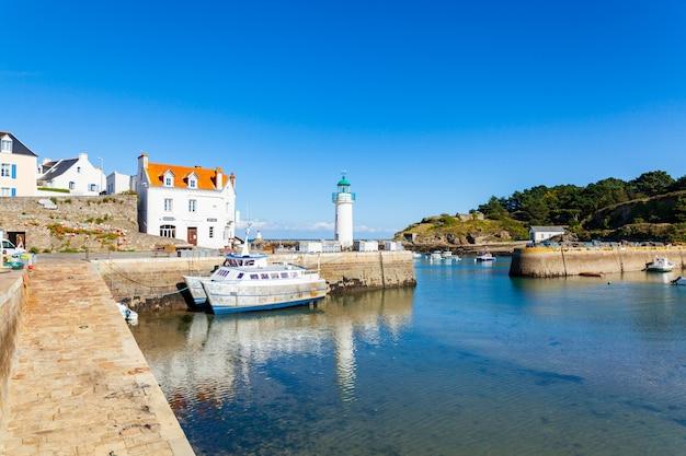 Port of sauzon in france on the island belle ile en mer in the morbihan