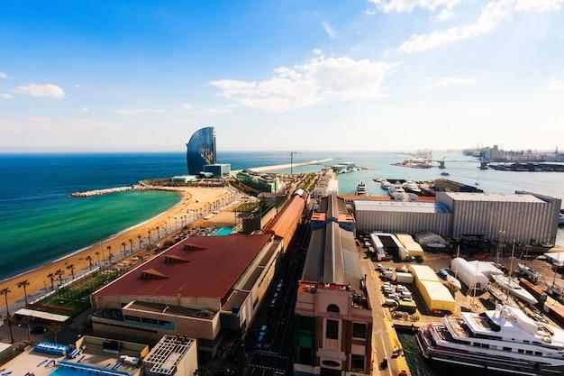 Port side of barceloneta and sea beach