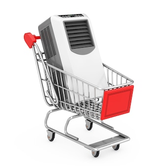 Portable mobile room air conditioner in shopping cart trolley on a white background. 3d rendering