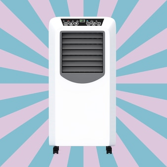 Portable mobile room air conditioner on a vintage star shape pink and blue background. 3d rendering