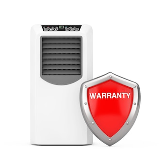 Portable mobile room air conditioner with red metal protection warranty shield on a white background. 3d rendering