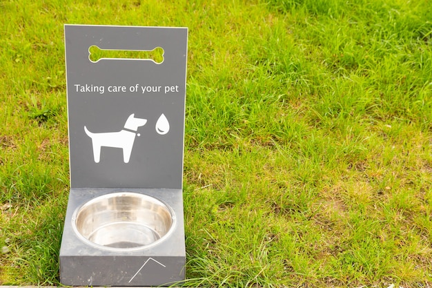 Portable pet water drinker for dogs and cats on green grass.