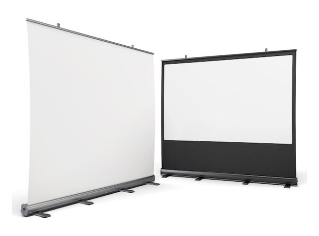 白で隔離されたプレゼンテーション用のポータブルスクリーン