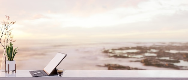 Portable tablet on light wood tabletop with space blurred ocean view 3d rendering