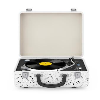 白い背景の上の白いケースのポータブルビンテージスタイルの音楽プレーヤーターンテーブル。 3dレンダリング