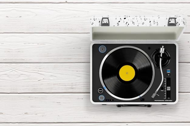 木製のテーブルの上の白いケースのポータブルビンテージスタイルの音楽プレーヤーターンテーブル。 3dレンダリング