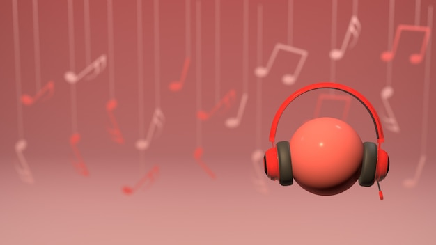 Portable wrieless headphones with musical notes