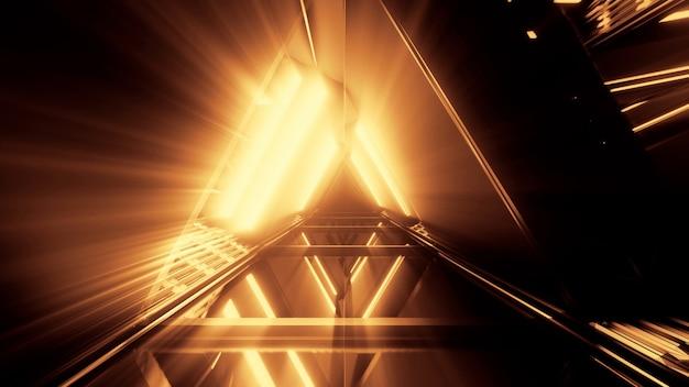 Portale di bellissime luci al neon con linee arancioni incandescenti in un tunnel