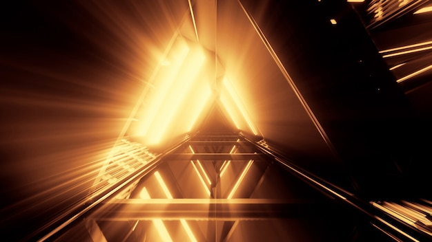 トンネル内の輝くオレンジ色の線で美しいネオンライトのポータル