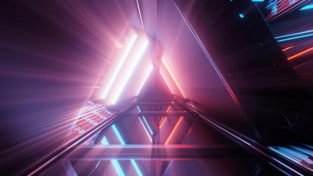 Портал красивых неоновых огней со светящимися фиолетовыми и синими линиями в туннеле