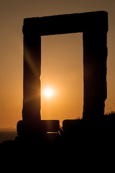 Portara of naxos at sunset