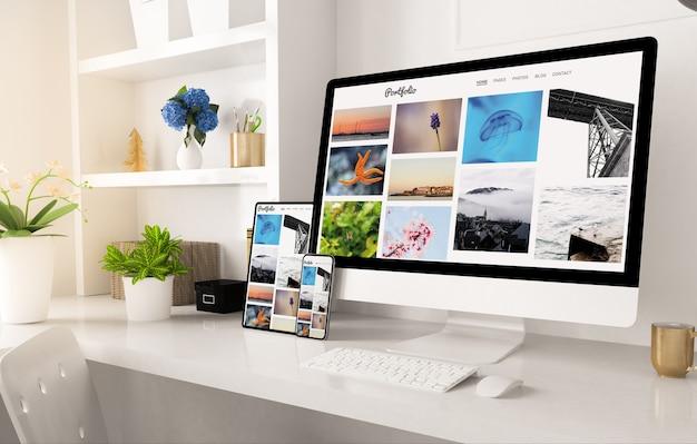 Portfolio website on home office setup 3d rendering