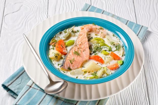 흰색 나무 테이블에 있는 파란색 그릇에 크림, 감자, 당근, 부추, 딜을 넣은 연어 생선 수프, 핀란드 요리, 고전 요리, 위에서 수평 전망