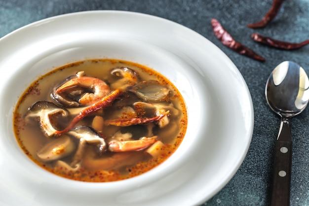 Portion of thai tom yum soup