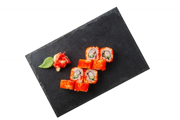 Portion of tobiko maki with caviar isolated