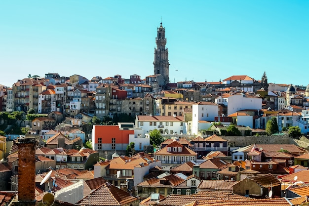 Porto city cityscape, typical blue tiled houses, building facades, red roofs and blue sky. portugal. euorpe.