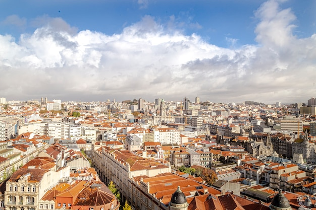 Porto city in portugal with horizon and sky with some clouds.