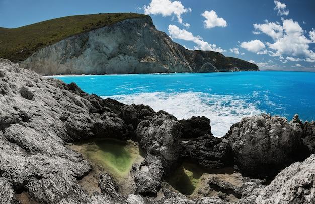Lefkada 섬, 그리스의 포르토 katsiki 해변. 이오니아 제도