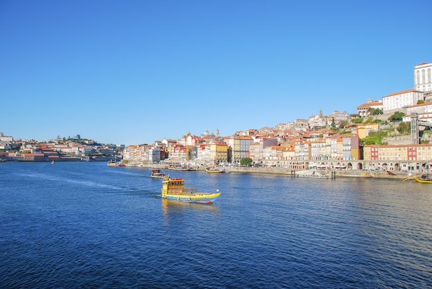 Porto, portugal old town skyline from across the douro river