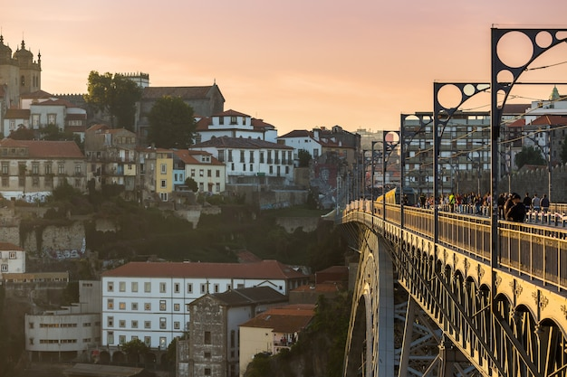 Porto with dom luis bridge during sunset,portugal