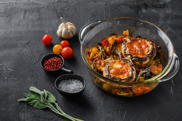 Portobello mushrooms, baked with ingredients