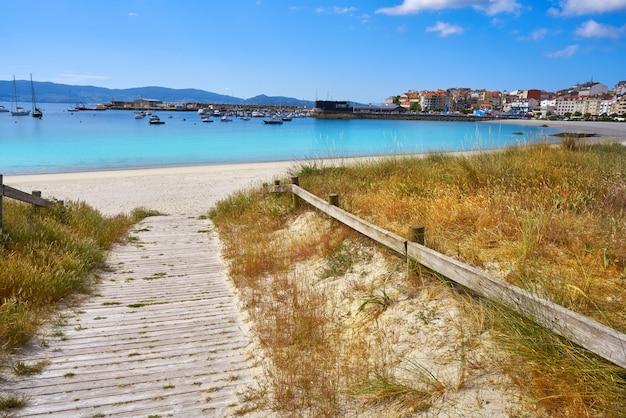 Portonovo baltar beach in pontevedra of galicia