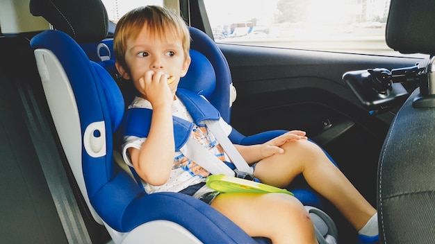 Portrait of 3 years old toddler boy sitting in child safety seat in car and eating cookies. kids travelling in automobile