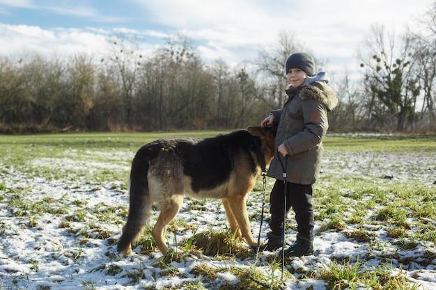 Портрет улыбающегося мальчика, гуляющего с большой собакой породы немецкая овчарка на поле.
