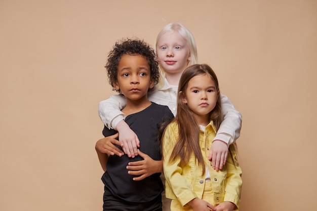 Portrait of adorable diverse children isolated