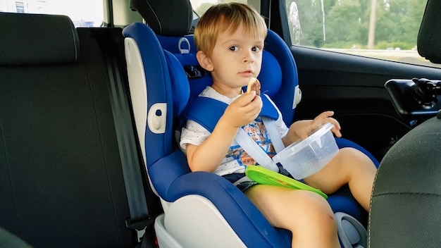 Portrait of adorable toddler boy sitting in child car safety seat and eating cookies