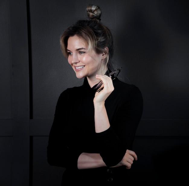 Portrait of adult businesswoman posing