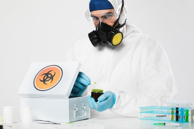 Portrait of adult male preparing medical treatment