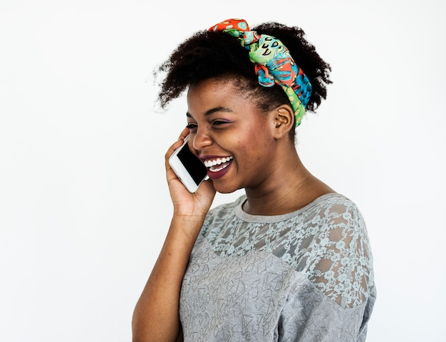 Portrait of an african woman on the phone