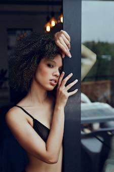 Portrait of an afro woman beauty concept