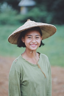 Portrait of asian beautiful burmese girl farmer in myanmar